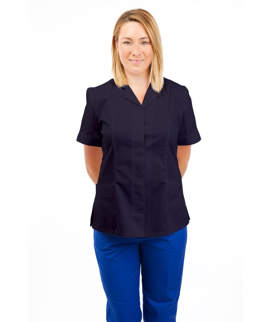 T10 Nurses Uniforms Ladies Tunic Revere Collar Concealed Buttons Navy T10-NAV