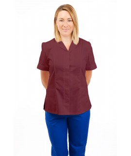 T10 Nurses Uniforms Ladies Tunic Revere Collar Concealed Buttons Wine T10-WIN