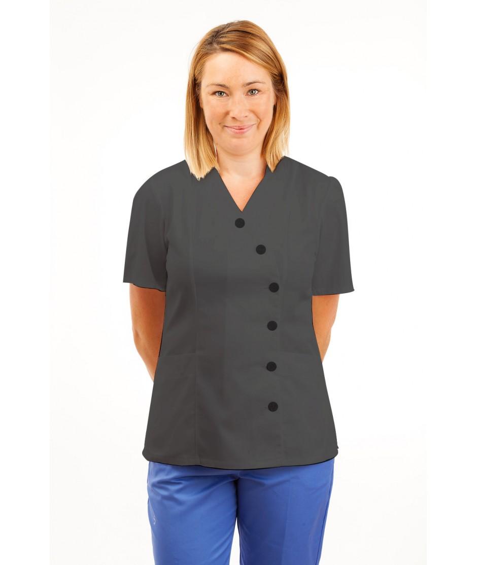 T11 Nurses Uniforms Ladies Tunic Side Closing with Mandarin Collar Grey T11-SIL