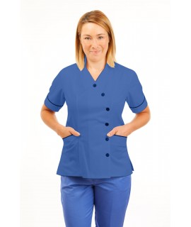 T11 Nurses Uniforms Ladies Tunic Side Closing with Mandarin Collar Hospital Blue T11-HBL