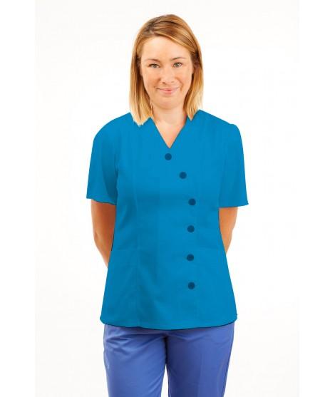 T11 Nurses Uniforms Ladies Tunic Side Closing with Mandarin Collar Kingfisher T11-KI
