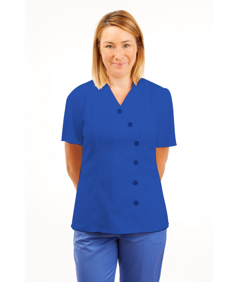 T11 Nurses Uniforms Ladies Tunic Side Closing with Mandarin Collar Mid Blue T11-BMB