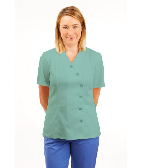 T11 Nurses Uniforms Ladies Tunic Side Closing with Mandarin Collar Eau De Nil T11-EDN