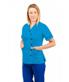 T12 Nurses Uniforms Ladies Side Closing Tunic V Neck Kingfisher T12-KI