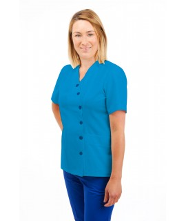 T12 Nurses Uniforms Ladies Side Closing Tunic V Neck Kingfisher T12-KI