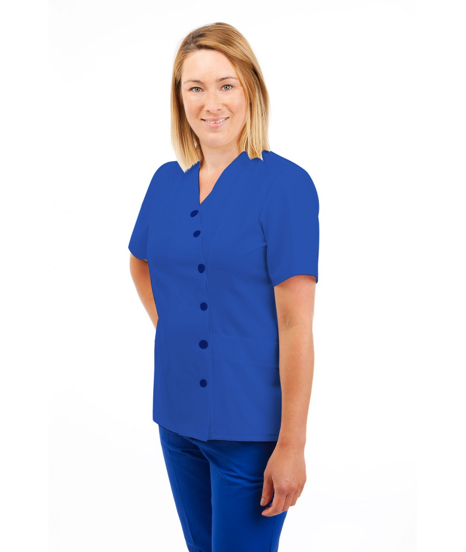 T12 Nurses Uniforms Ladies Side Closing Tunic V Neck Mid Blue T12-BMB