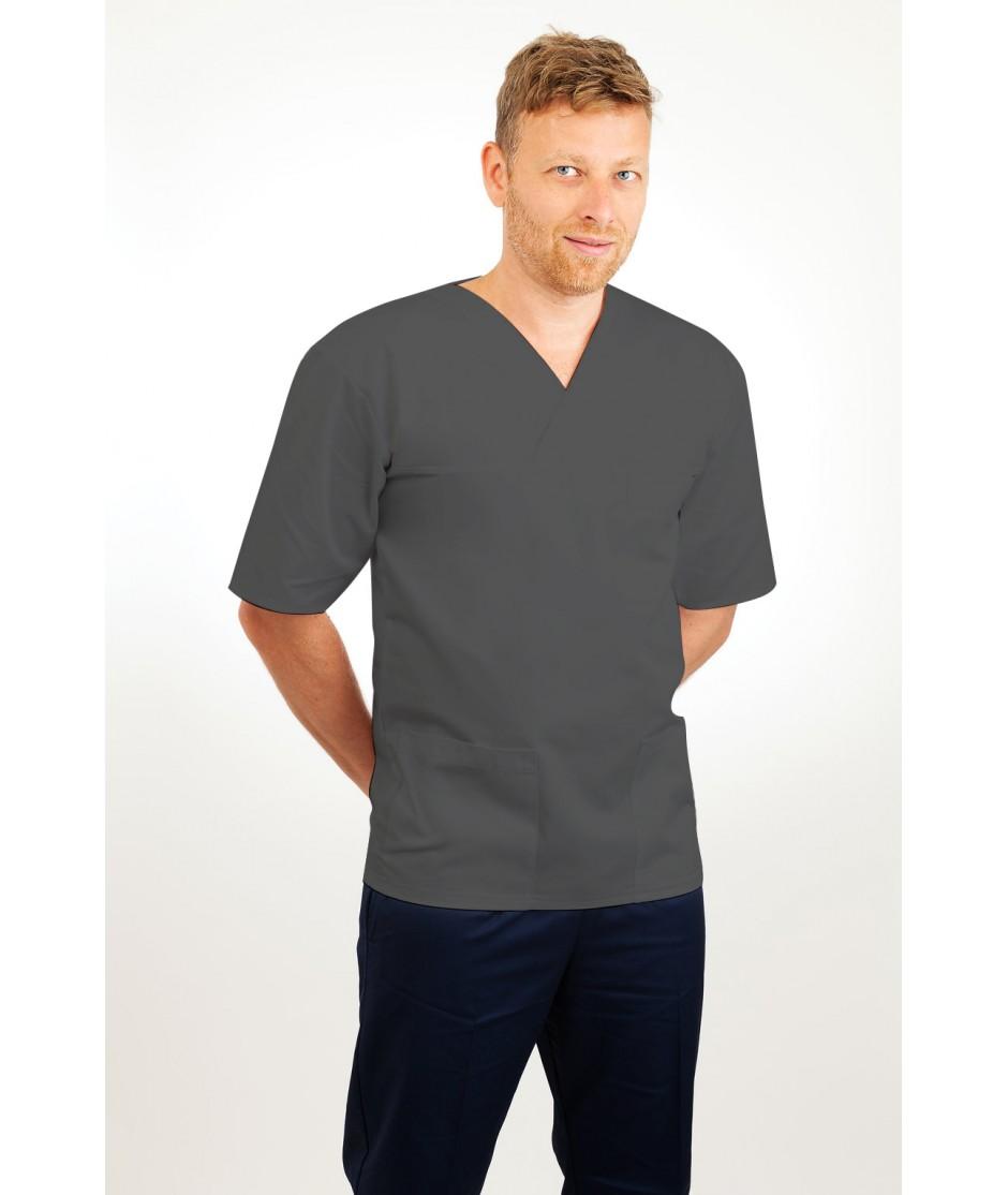 T21 Nursing Uniforms Top V Neck Male Grey T21-SIL