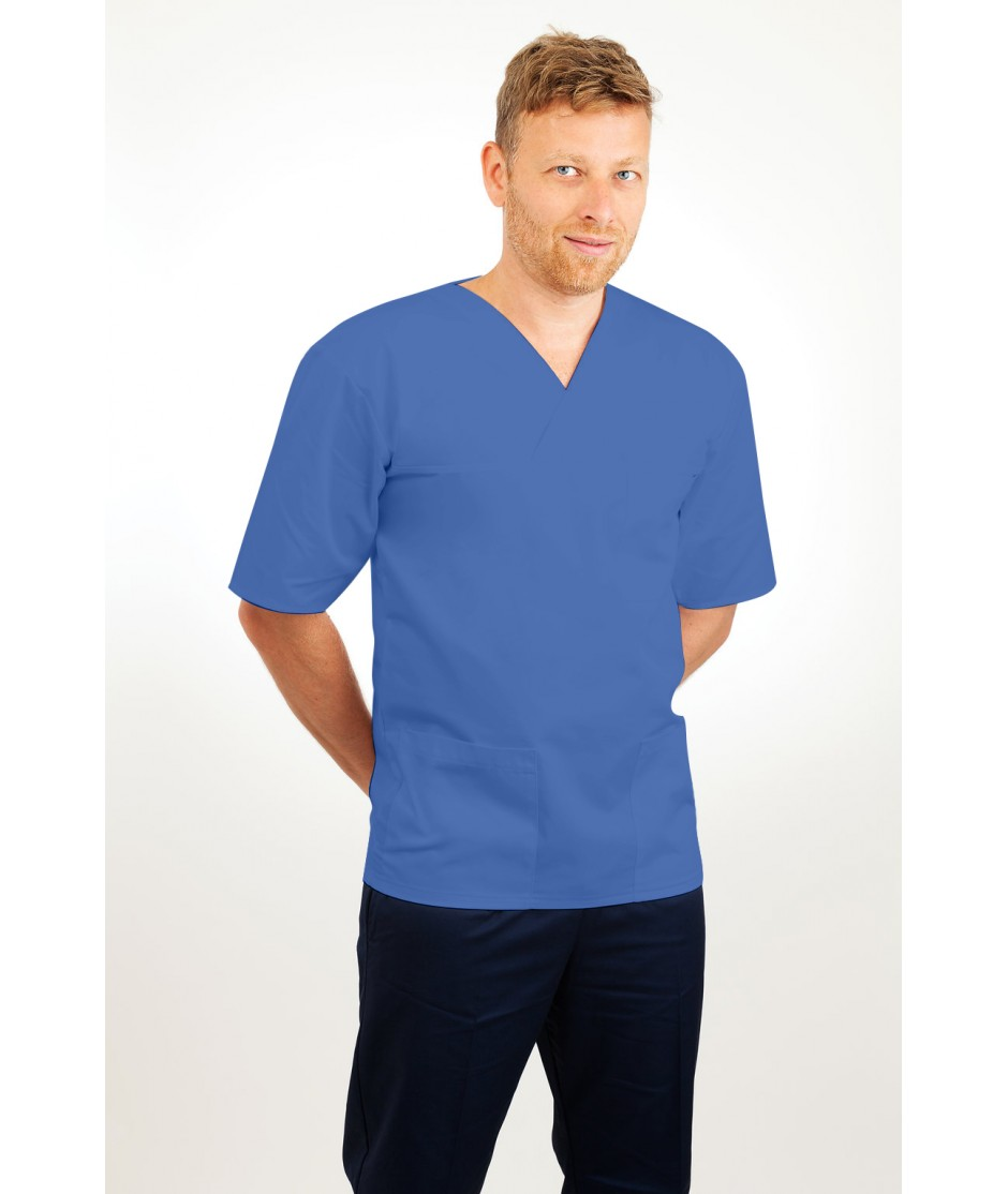 T21 Nursing Uniforms Top V Neck Male Hospital Blue T21-HBL