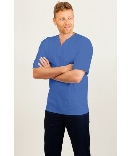 T01 Navy and White Pinstripe - Nurses Uniform Tunic Revere Collar
