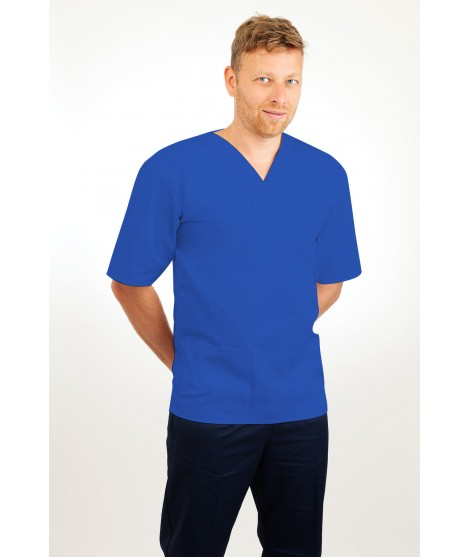 T21 Nursing Uniforms Top V Neck Male Mid Blue T21-BMB