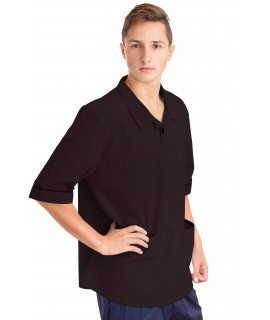 T22 Nurses Top Revere Collar Male Black T22-BLA