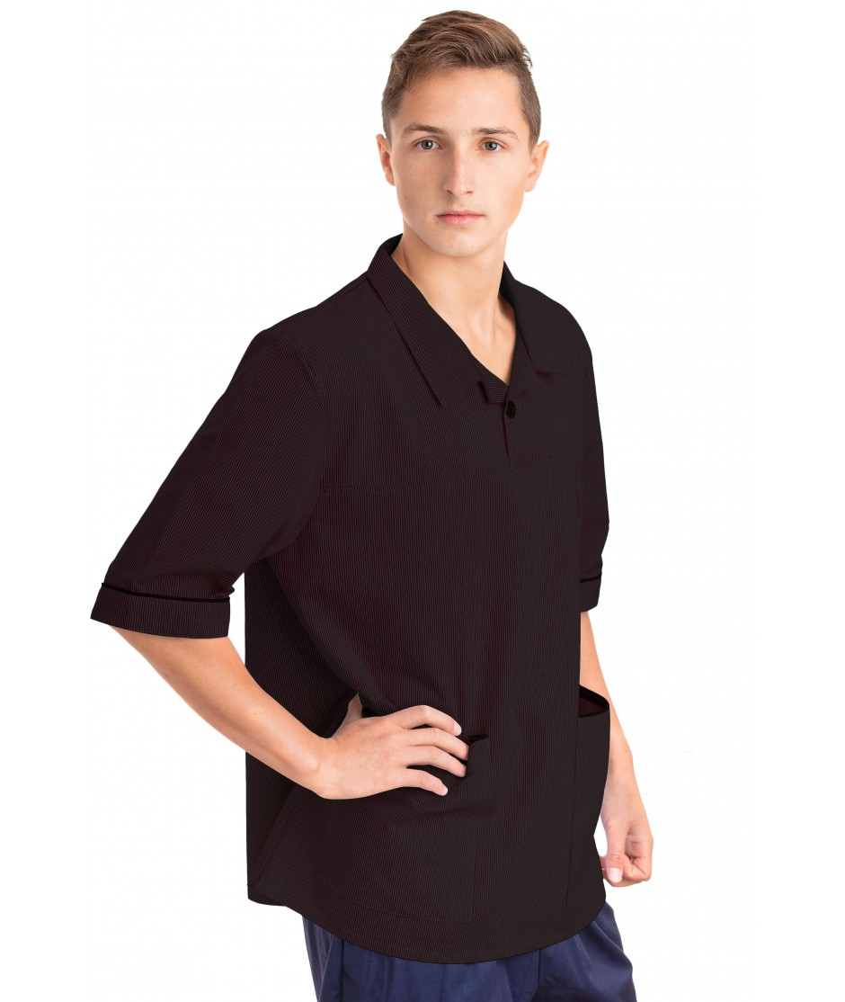 T22 Nurses Top Revere Collar Male Black T22-BLA