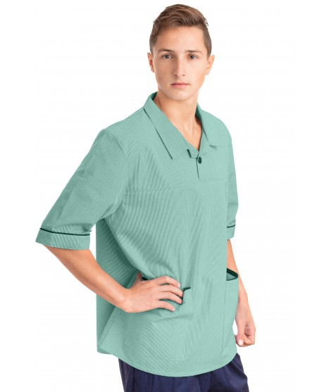 T22 Nurses Top Revere Collar Male Eau De Nil T22-EDN