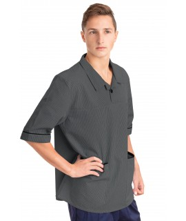 T22 Nurses Top Revere Collar Male Grey T22-SIL