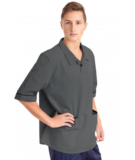 T01 Aqua Green Pinstripe - Nurses Uniform Tunic Revere Collar