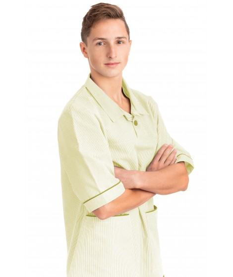 T02 Aqua Green Pinstripe - Nurses Uniform V Neck