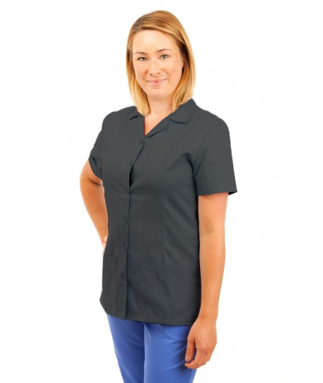 T12 Sky Blue - Nurses Uniforms Ladies Side Closing Tunic V Neck