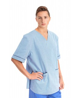 T21 : Nursing Uniforms Top V Neck Male Light Blue Pinstripe T21
