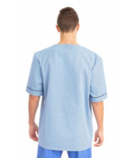 T21 : Nursing Uniforms Top V Neck Male Light Blue Pinstripe T21