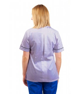 T01 Lilac and White Pinstripe - Nurses Uniform Tunic Revere Collar T01