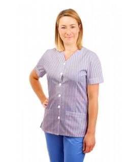 T02 Lilac and White Pinstripe - Nurses Uniform V Neck T02