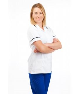White - Nurses Uniforms Ladies Square Collar Concealed Buttons T15 T15