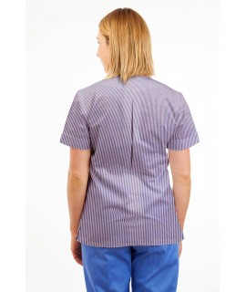 T02 Lilac and White Pinstripe - Nurses Uniform V Neck T02