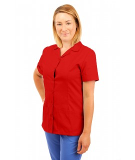 T01 Nurses Uniform Tunic Revere Collar Red T01-RED