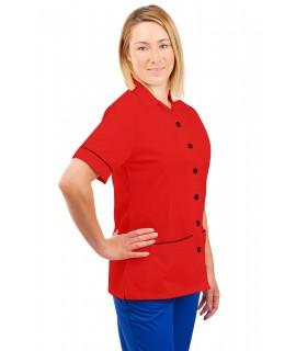 T01 Nurses Uniform Tunic Revere Collar Red T01-RED