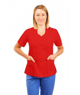 T03 Nurses Tunic Sweetheart Neckline Red T03-RED