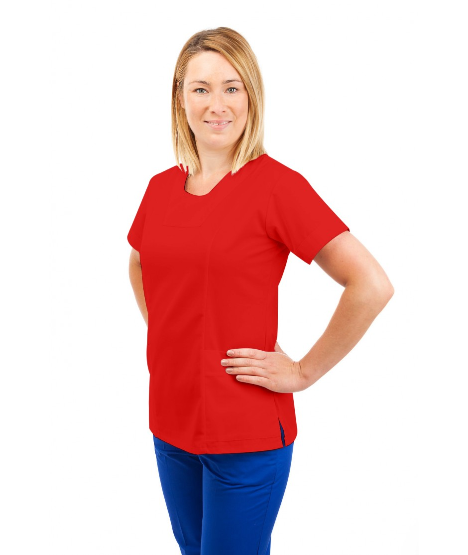 T04 Nurses Uniform Fitted Scrub Round Neck Red T04-RED