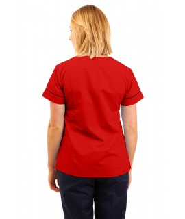 T05 Nursing Uniforms Fitted Scrub V Neck Red T05-RED