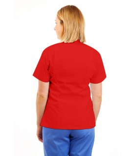 T09 Nurses Top Mandarin Collar cut away front Red T09-RED