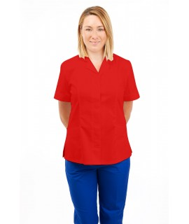 T10 Nurses Uniforms Ladies Tunic Revere Collar Concealed Buttons Red T10-RED
