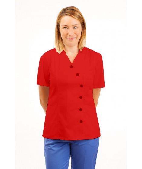 T11 Nurses Uniforms Ladies Tunic Side Closing with Mandarin Collar Red T11-RED