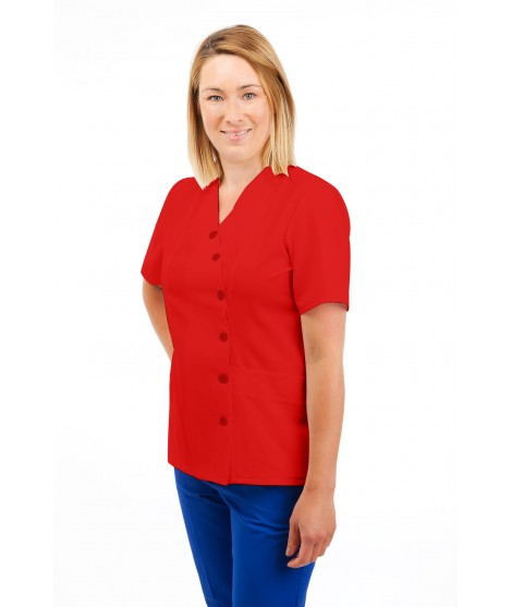 T12 Nurses Uniforms Ladies Side Closing Tunic V Neck Red T12-RED