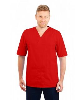 T21 Nursing Uniforms Top V Neck Male Red T21-RED