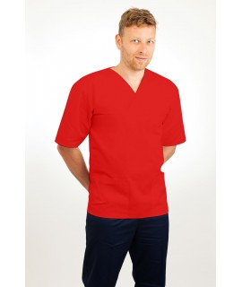 T21 Nursing Uniforms Top V Neck Male Red T21-RED
