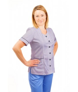 T03 Lilac and White Pinstripe - Nurses Tunic Sweetheart Neckline T03
