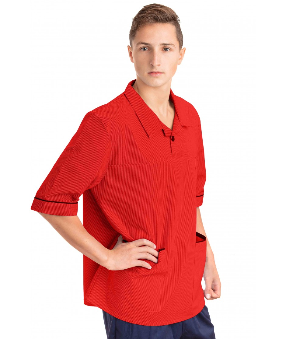 T22 Nurses Top Revere Collar Male Red T22-RED