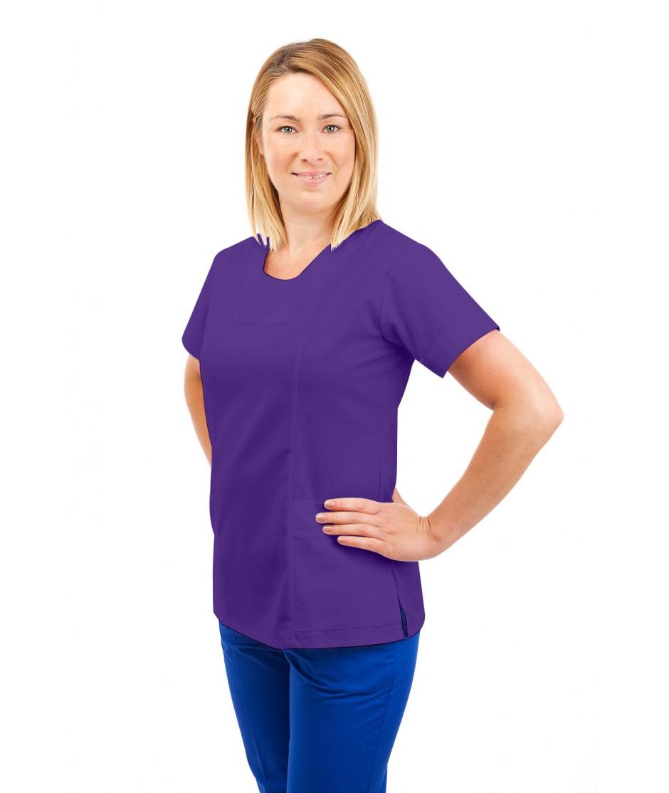 T04 Nurses Uniform Fitted Scrub Round Neck Purple T04-PUR