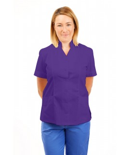 T09 Nurses Top Mandarin Collar cut away front Purple T09-PUR