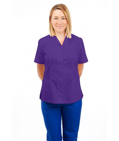T10 Nurses Uniforms Ladies Tunic Revere Collar Concealed Buttons Purple T10-PUR