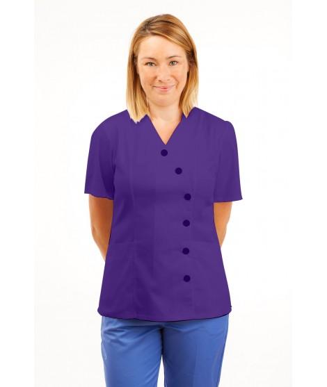 T11 Nurses Uniforms Ladies Tunic Side Closing with Mandarin Collar Purple T11-PUR