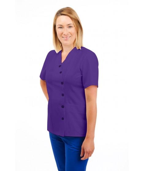 T12 Nurses Uniforms Ladies Side Closing Tunic V Neck Purple T12-PUR
