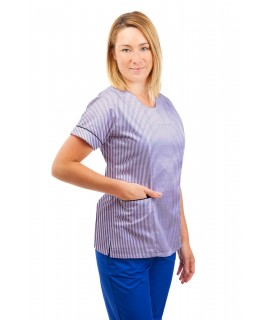 T04 Lilac and White Pinstripe - Nurses Uniform Fitted Scrub Round Neck T04