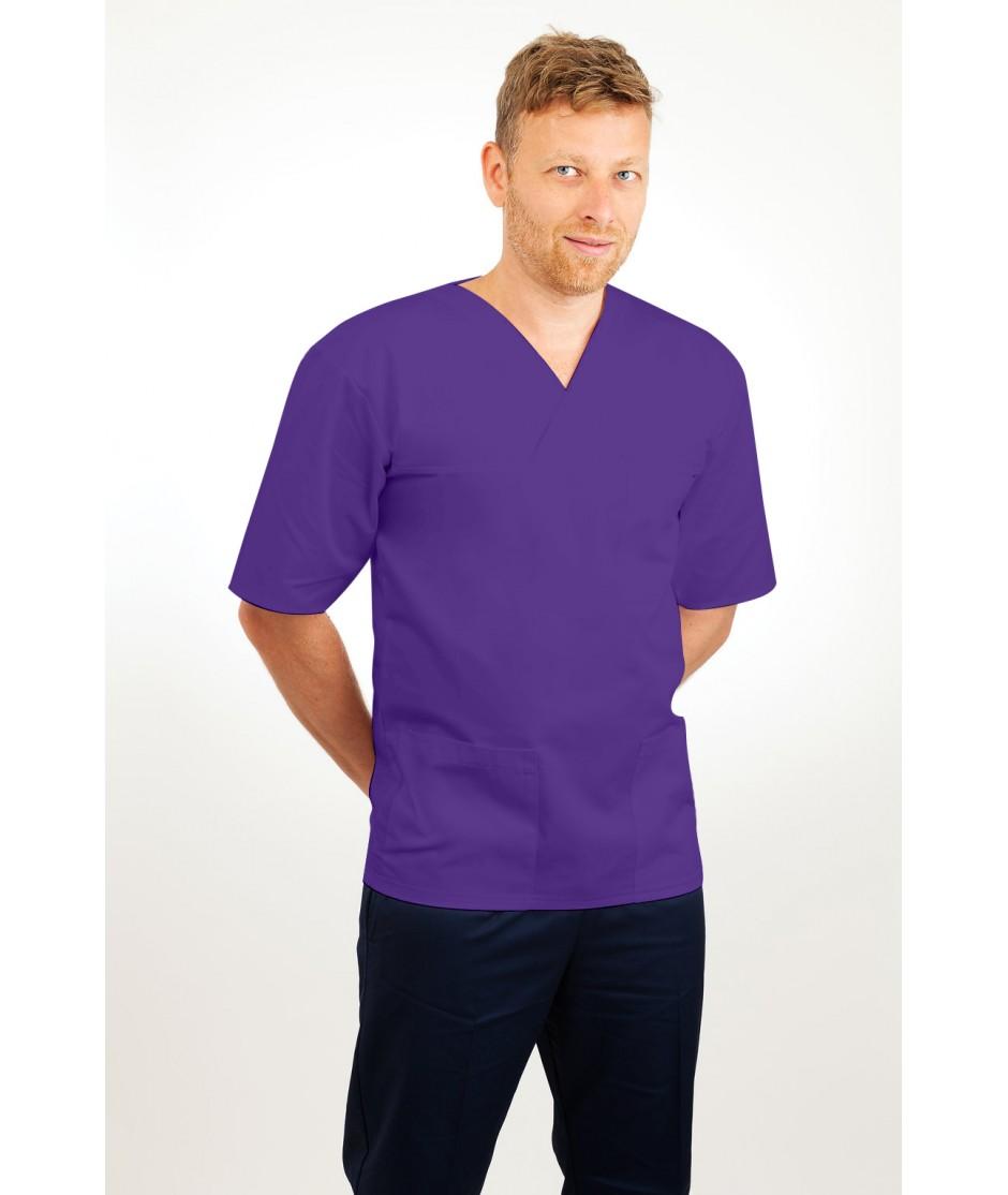 T21 Nursing Uniforms Top V Neck Male Purple T21-PUR
