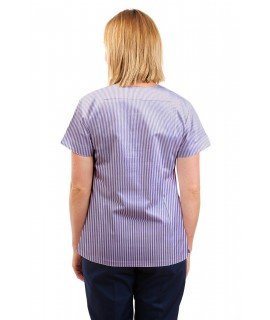 T05 Lilac and White Pinstripe - Nursing Uniforms Fitted Scrub V Neck T05