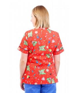 T05 Nursing Uniforms Fitted Scrub V Neck Fun Bug Red T05-FBR