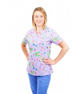 T05 Nursing Uniforms Fitted Scrub V Neck Fun Bug Lilac T05-FBL